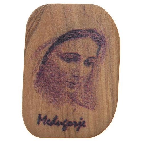 Calamita legno ulivo Madonna Medjugorje 4,2x3 cm 1
