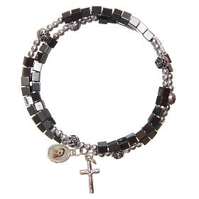 Bracelets, dizainiers: Bracelet à ressort médaille Notre-Dame Medjugorje