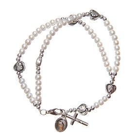 Bracelets, dizainiers: Bracelet avec fermoir coeurs croix Notre-Dame Medjugorje