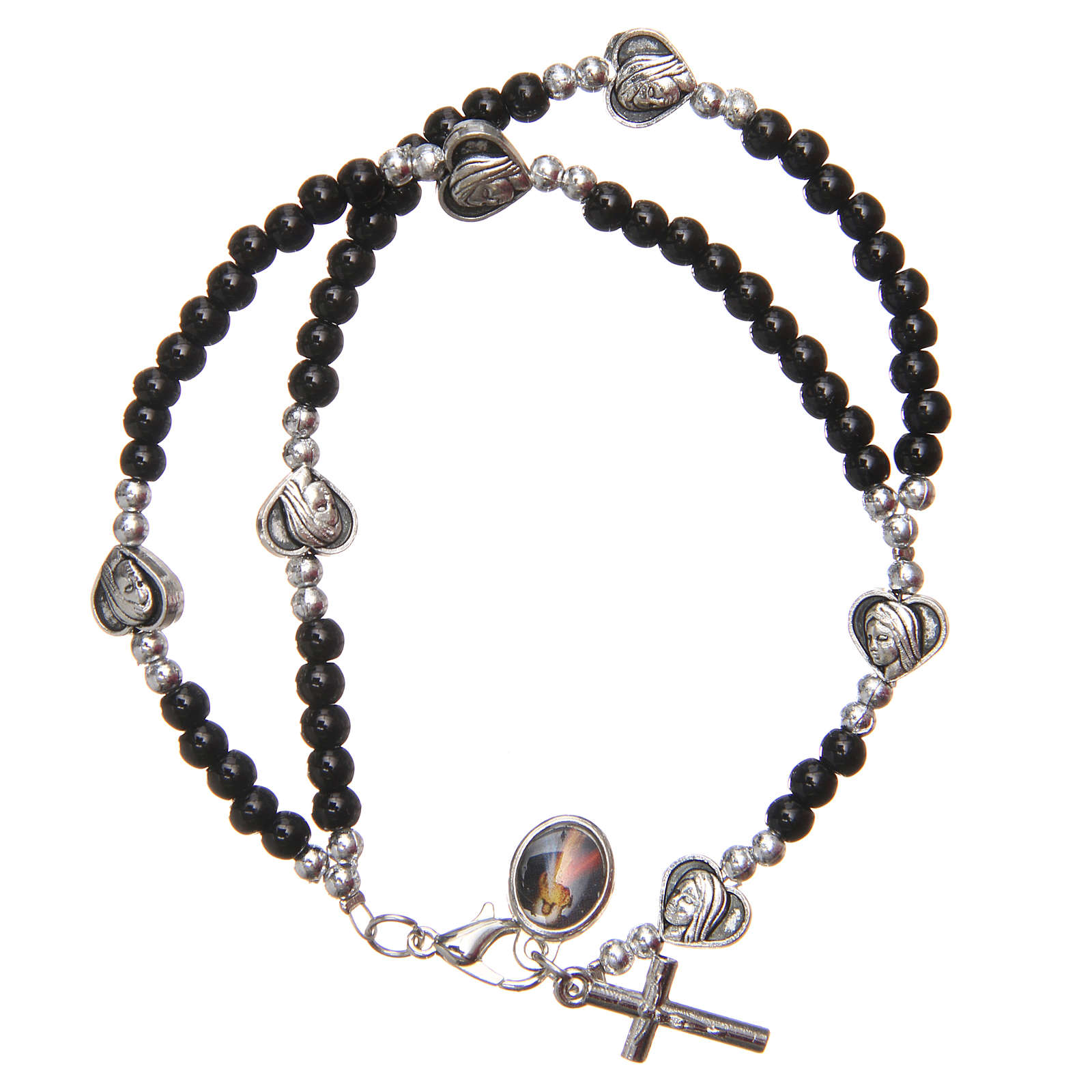 Bracelet black beads Our Lady of Medjugorje 4