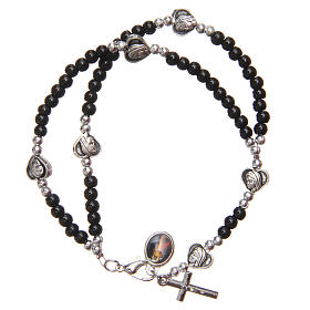 Bracelet black beads Our Lady of Medjugorje s2