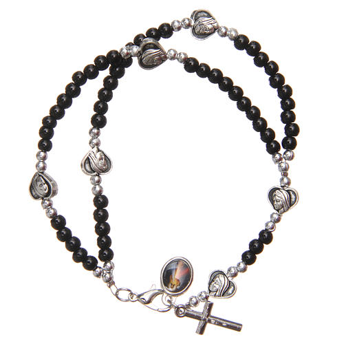 Bracelet black beads Our Lady of Medjugorje 2