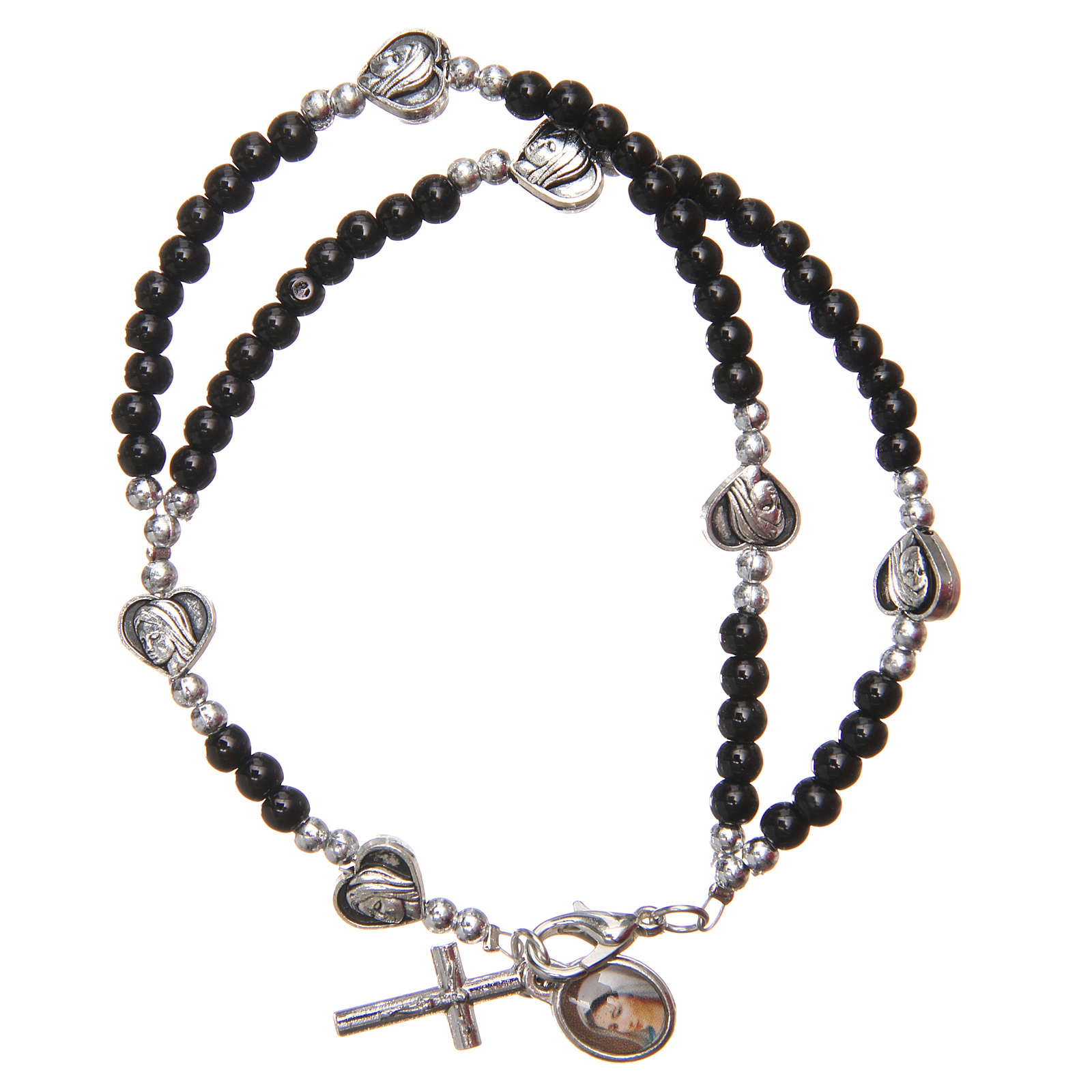 Braccialetto apri chiudi perline nere Madonna Medjugorje 4