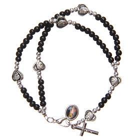 Braccialetto apri chiudi perline nere Madonna Medjugorje s2