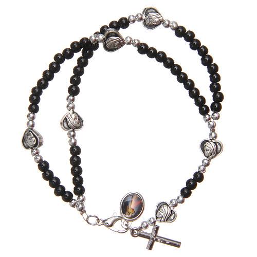 Braccialetto apri chiudi perline nere Madonna Medjugorje 2