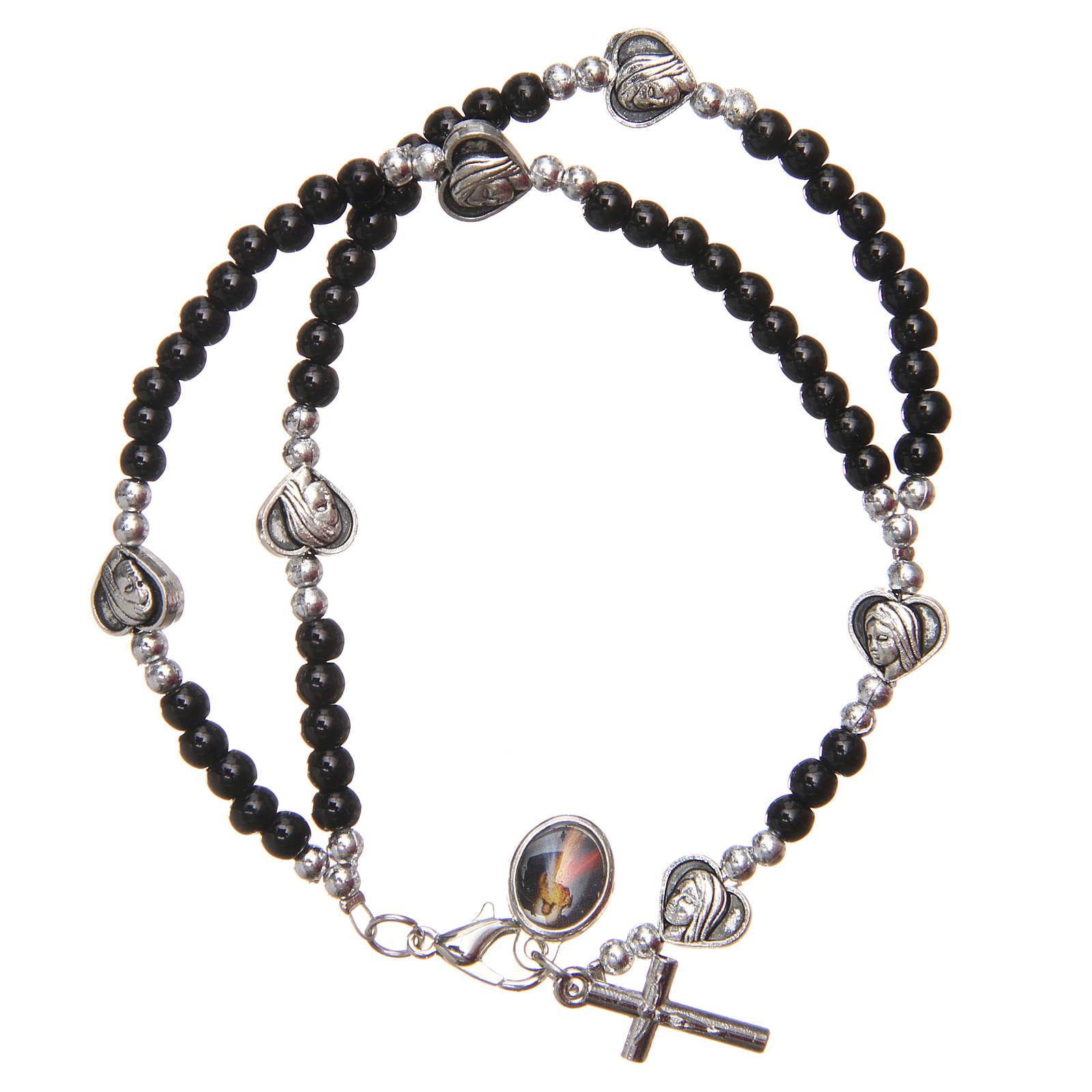Bracelet black beads Our Lady of Medjugorje 4