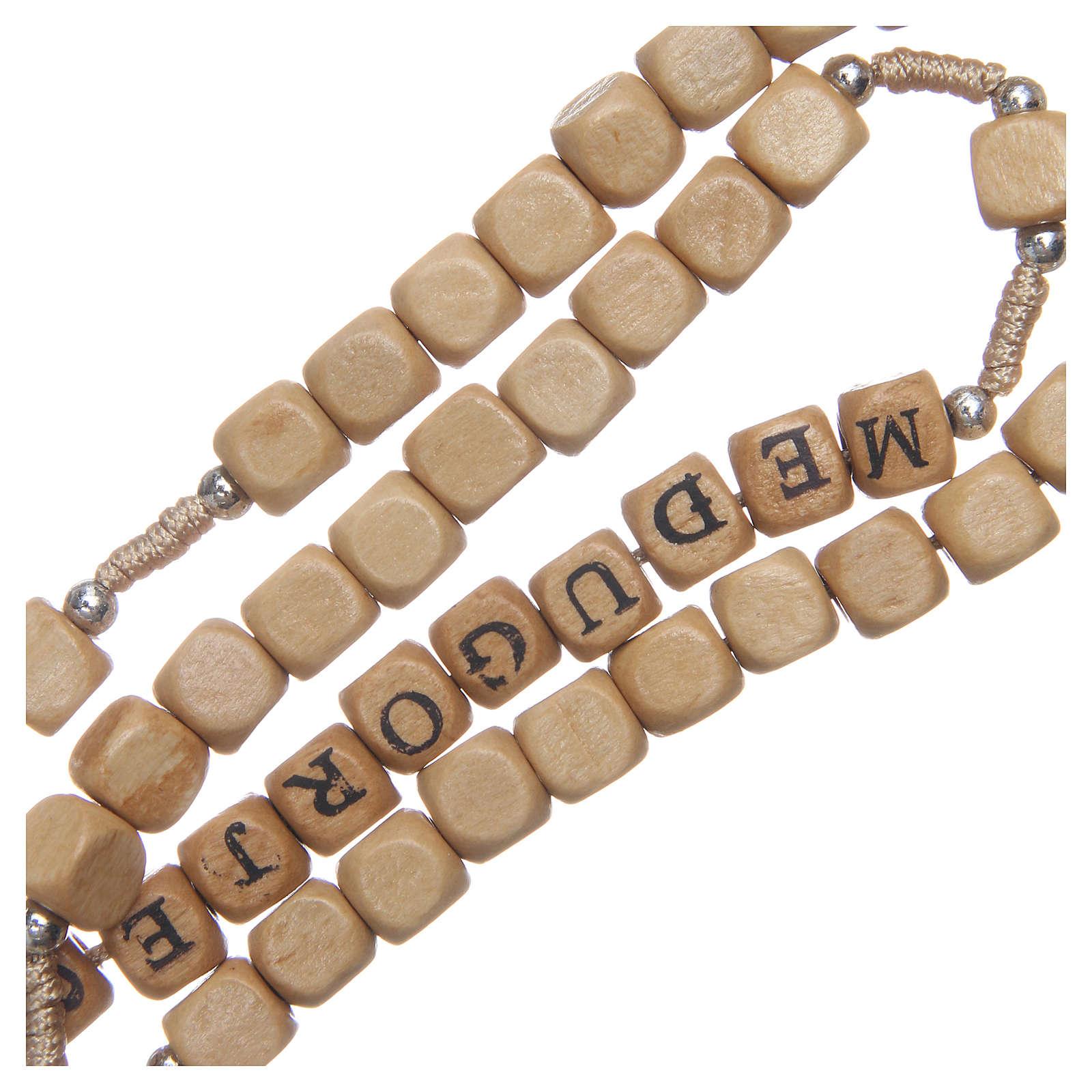 Rosario legno con scritta Medjugorje 4