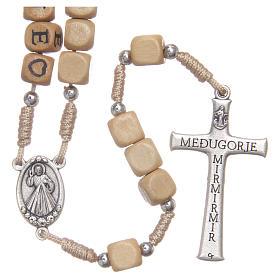 Rosario legno con scritta Medjugorje s2
