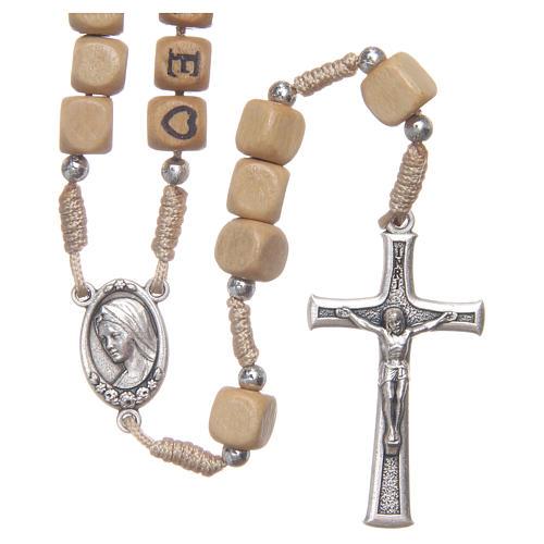 Rosario legno con scritta Medjugorje 1
