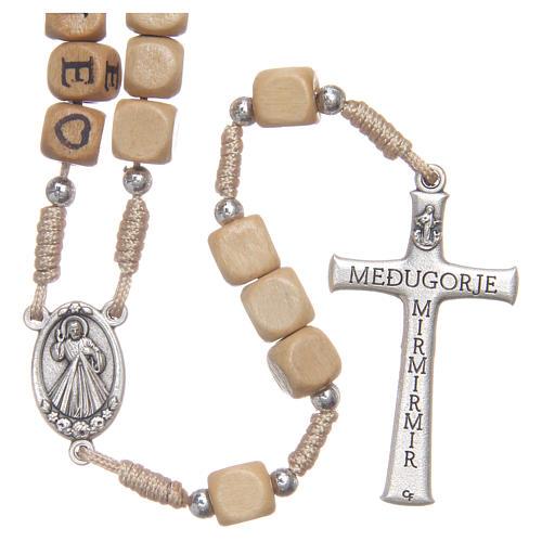 Rosario legno con scritta Medjugorje 2