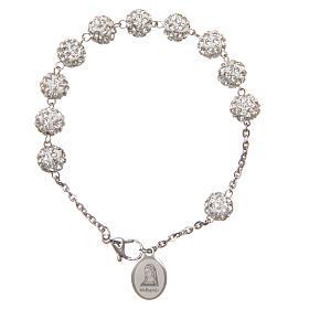 Bracelets, dizainiers: Bracelet grains blancs brillants Medjugorje