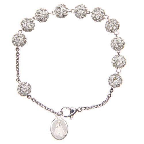 Bracelet grains blancs brillants Medjugorje 2