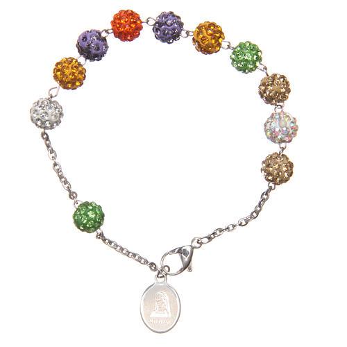 Bracelet shiny multicolor beads Medjugorje 1