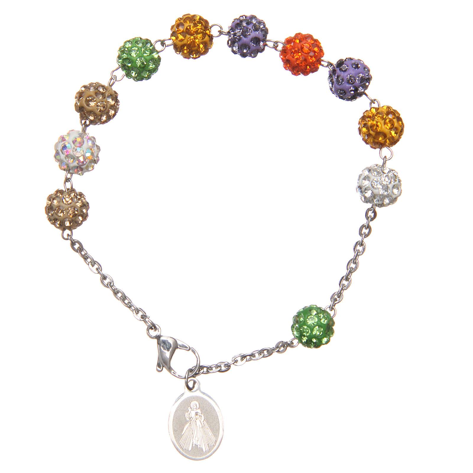 Braccialetto grani multicolor brillanti Medjugorje 4