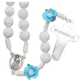 Rosario Medjugorje roselline bianche azzurre con croce s2