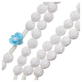Rosario Medjugorje roselline bianche azzurre con croce s3
