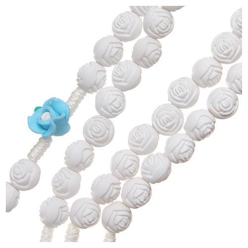 Rosario Medjugorje roselline bianche azzurre con croce 3