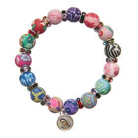 Bracelets, dizainiers: Bracelet Medjugorje perles 11 mm décors multicolores