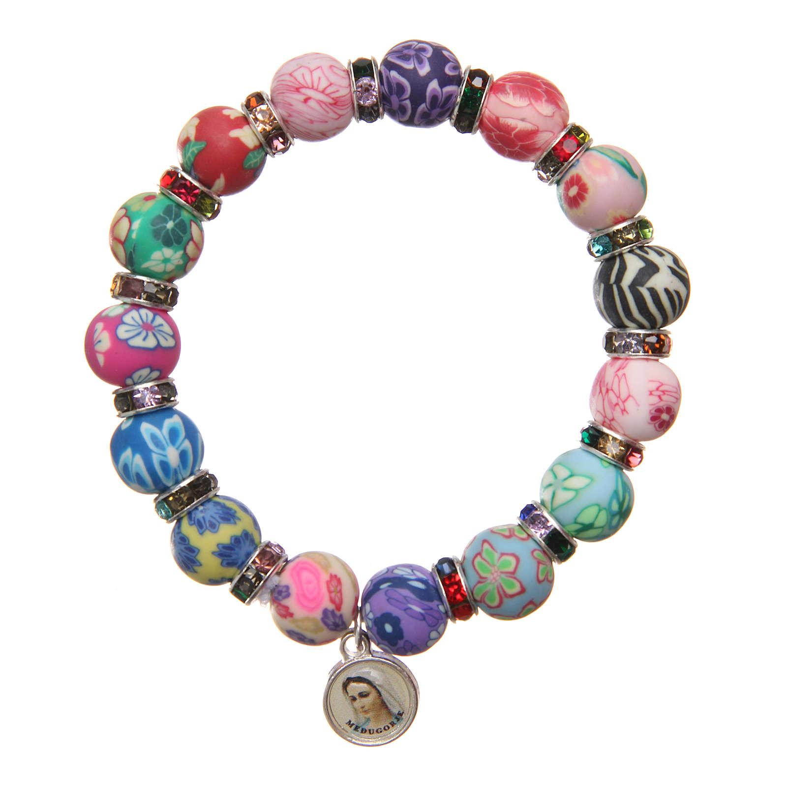Braccialetto Medjugorje perline 11 mm decori multicolor 4