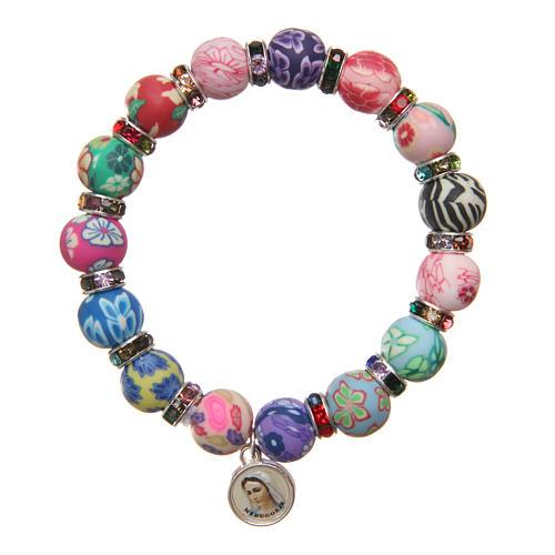 Braccialetto Medjugorje perline 11 mm decori multicolor 1
