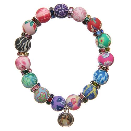 Braccialetto Medjugorje perline 11 mm decori multicolor 2