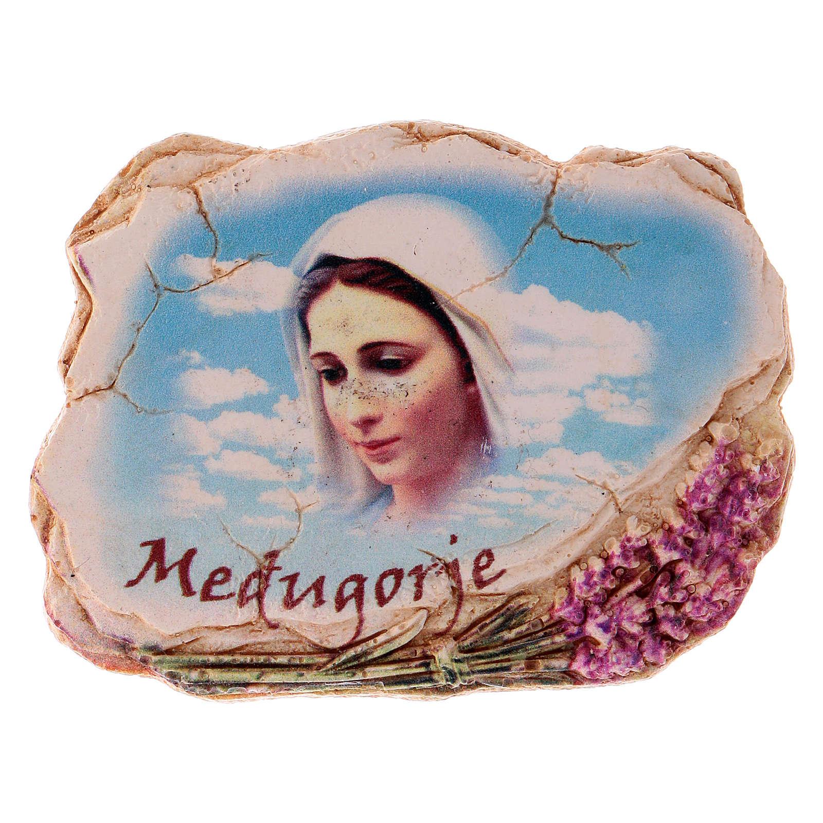 Imán 6,5 x 6 cm rostro Virgen de Medjugorje 4