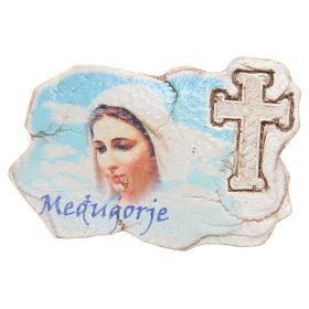 Aimant croix et visage de Notre-Dame de Medjugorje s1