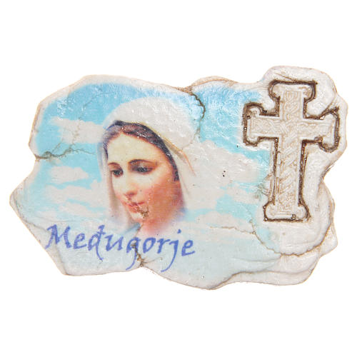 Magnet Our Lady of Medjugorje face and cross 1