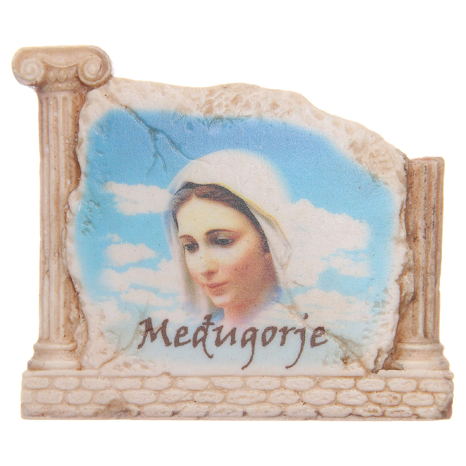 Calamita volto Madonna Medjugorje e colonne 4