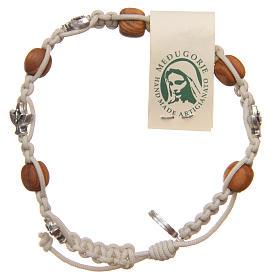 Bracelets, dizainiers: Bracelet Medjugorje corde beige grains bois olivier