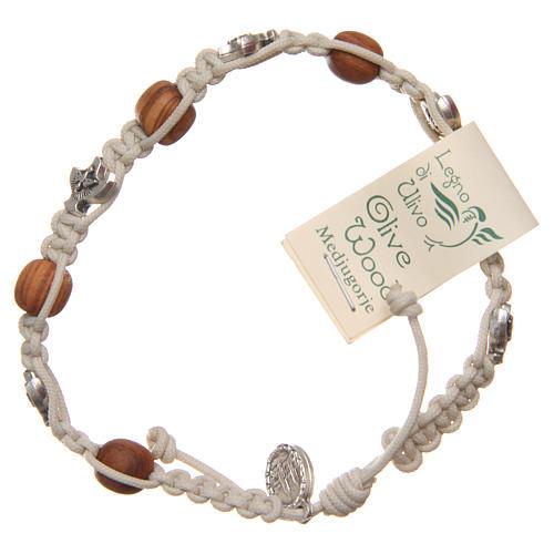 Bracelet Medjugorje corde beige grains bois olivier 2