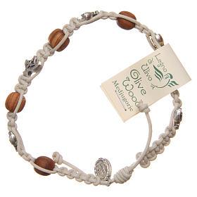 Bracelet Medjugorje beige rope and olive wood s2