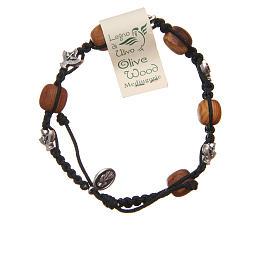 Bracelet Medjugorje black rope and olive wood s2