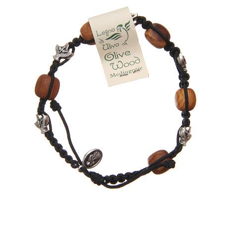 Bracelet Medjugorje black rope and olive wood 2