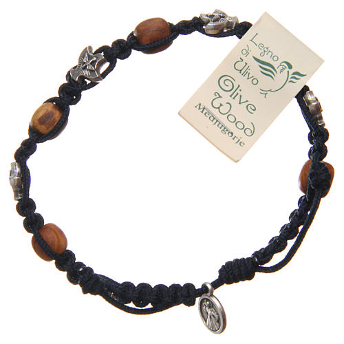 Bracelet Medjugorje blue rope and olive wood 2