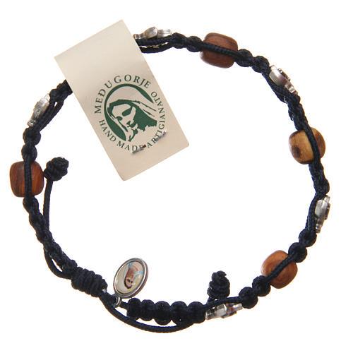 Pulsera Medjugorje cuerda azul madera olivo 1