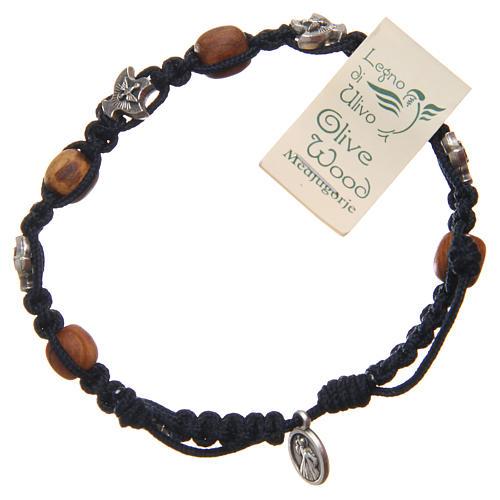 Pulsera Medjugorje cuerda azul madera olivo 2