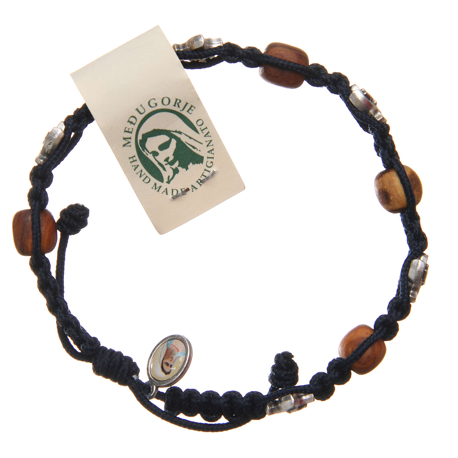 Bracelet Medjugorje blue rope and olive wood 4