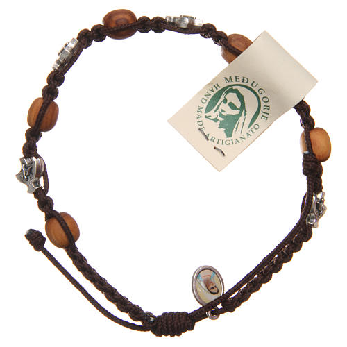 Bracelet Medjugorje brown rope and olive wood 1
