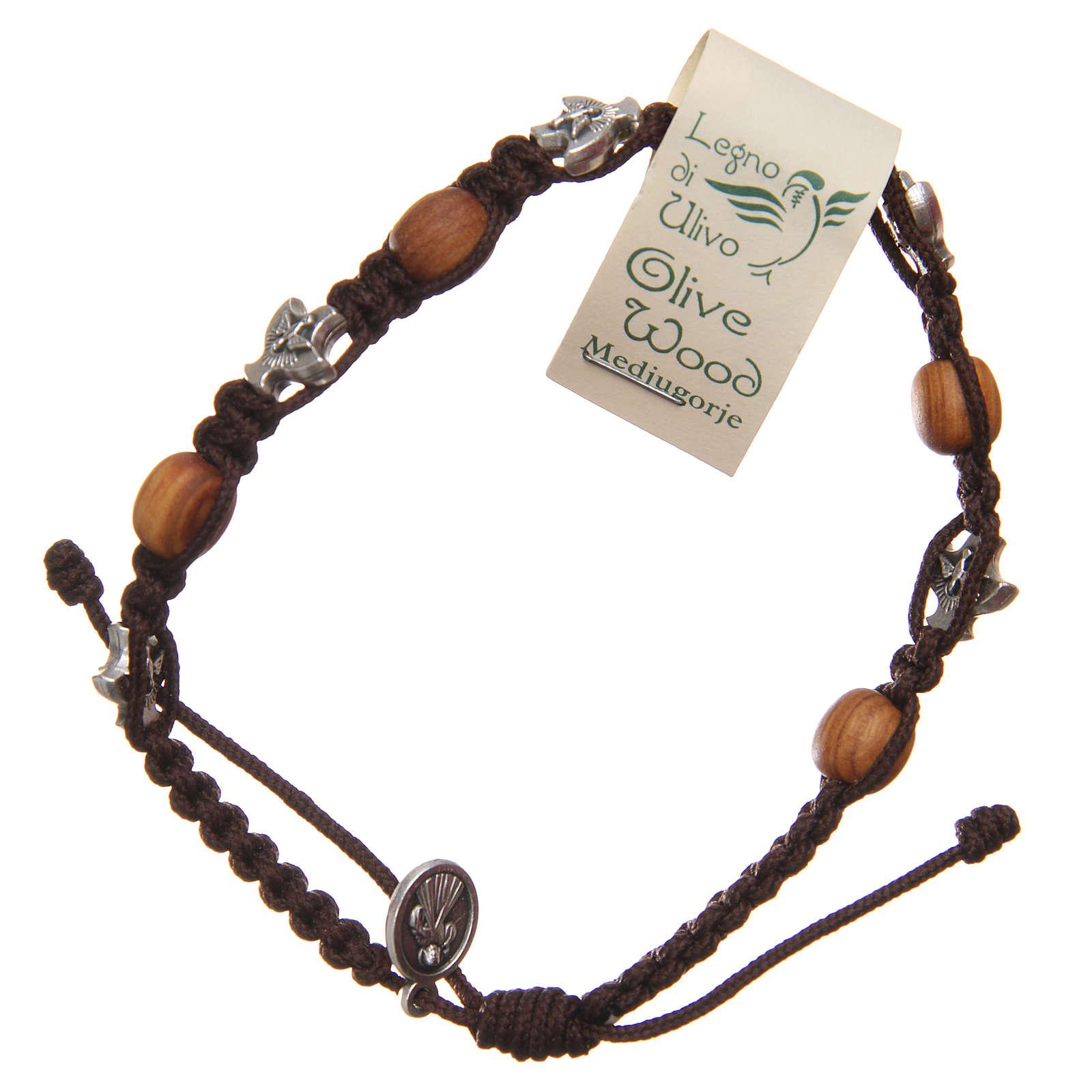 Braccialetto Medjugorje corda marrone legno ulivo 4
