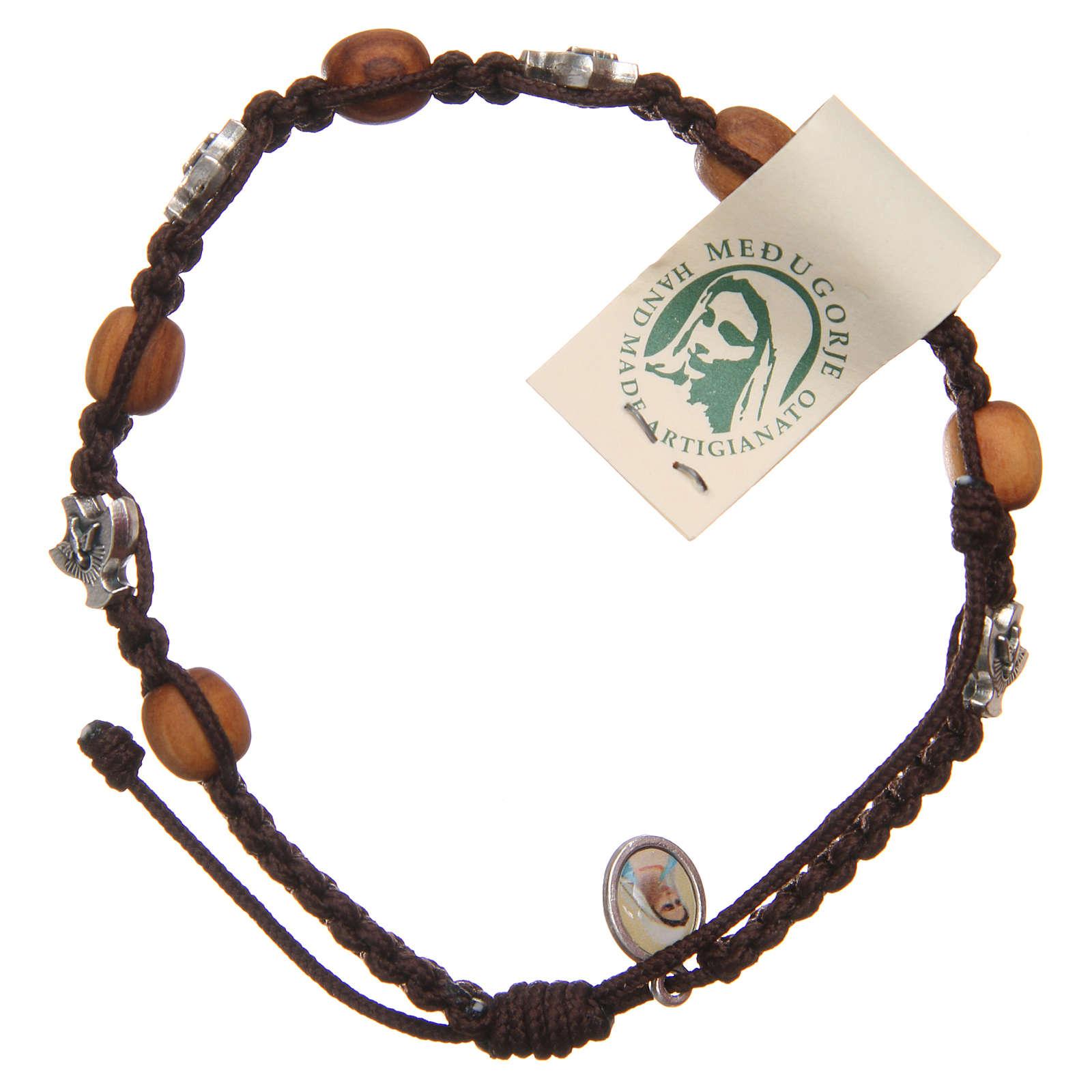 Bracelet Medjugorje brown rope and olive wood 4