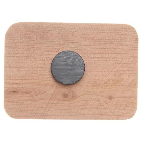 Aimant en bois olivier Medjugorje 8x5,5 cm 2