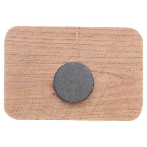 Aimant en bois olivier Medjugorje 7x5 cm 2