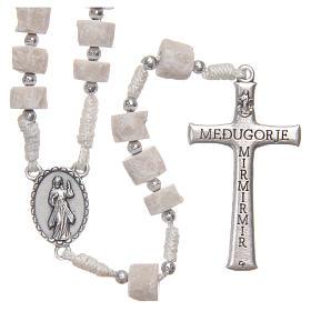 Rosary white Medjugorje stone, white rope s2