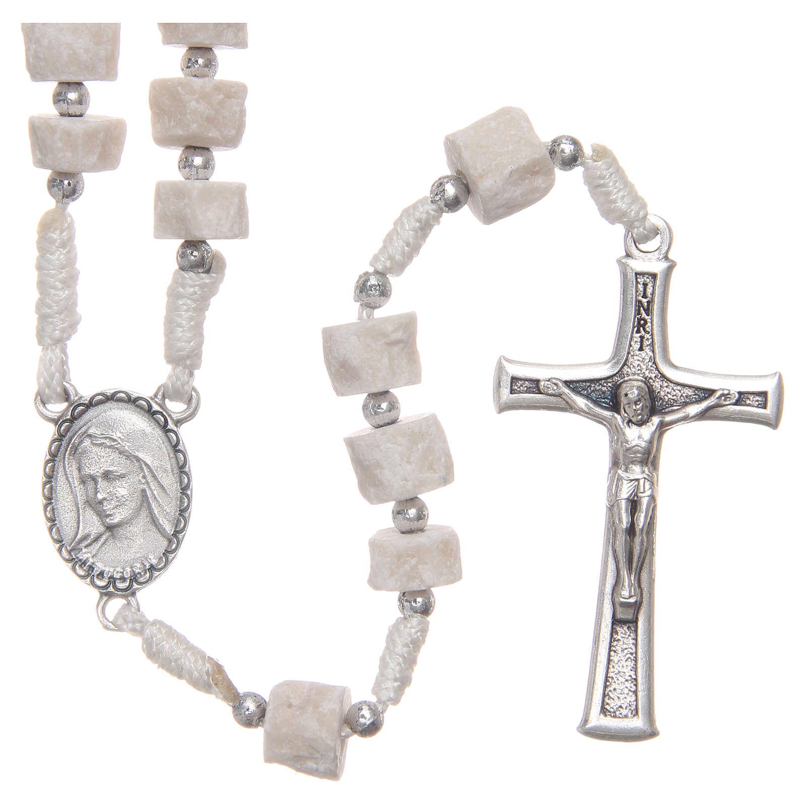 Rosario piedra blanca Medjugorje con cuerda blanca 4