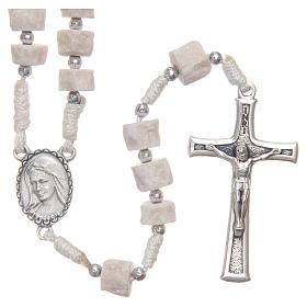 Różaniec biały kamień Medziugorie biały sznurek s1