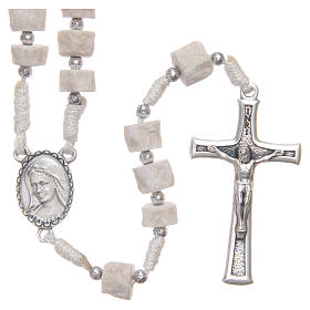 Rosary white Medjugorje stone, white rope s1