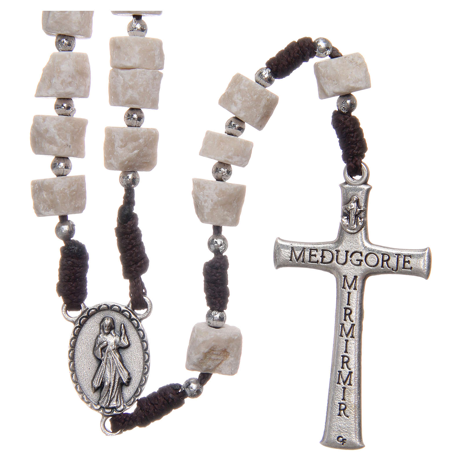 Rosary in white Medjugorje stone with brown cord 4