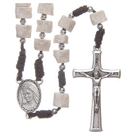Rosary in white Medjugorje stone with brown cord s1