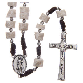 Rosary in white Medjugorje stone with brown cord s2
